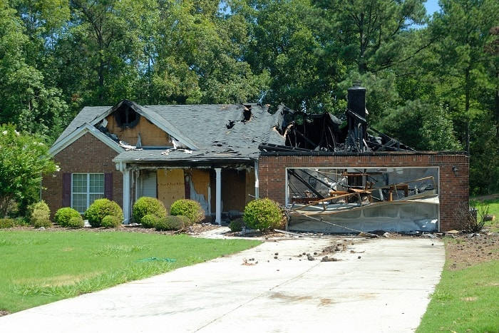 house damage after fire