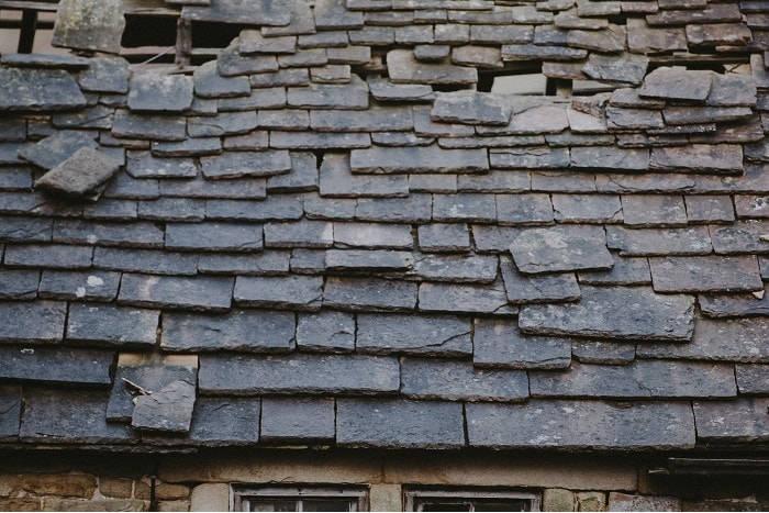 old damaged roof